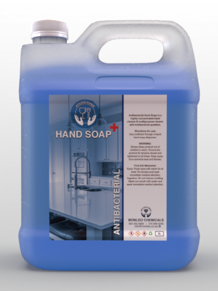 Monleo Chemicals | Antibacterial Hand Soap, 5L Container Light Blue liquid