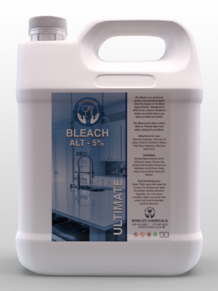 Monleo Chemicals Kitchen Range | Bleach 5% Ultimate, hand cleaner, quality, local, south African, Johannesburg, Sandton, Pretoria, Boksburg, Hospital, COVID, COVID-19, COVID2020, COVID2021, clinic, clicks, dischem, chemical, Safety, Bacteria, viruses, germs, dirt, disinfectant, handy andy ,Jik, original, name brand,approved, soap, cleaner, disinfectant, surface cleaner ,bleach ,high grade, affordable, ultimate ,top ,oven cleaner ,surface cleaner,counter cleaner ,surface cleaner