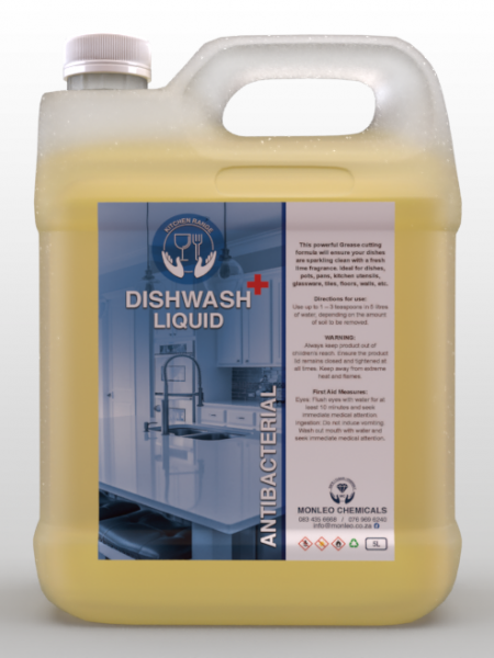 Monleo Chemicals | Dishwash Liquid Anti Bacterial 5L container, yellow, South african, Local, Near Me, Affordable, Cheap, cost effective,