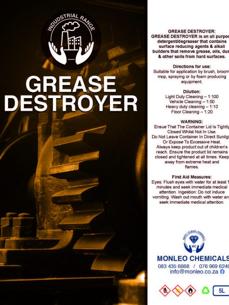 Monleo Chemicals Industrial Range | Grease Destoyer