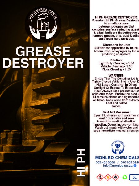 Monleo Chemicals Industrial Range | Grease destroyer hi PH