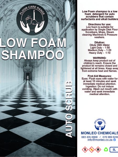 Monleo Chemicals Flooring Range | low foam shampoo auto scrub