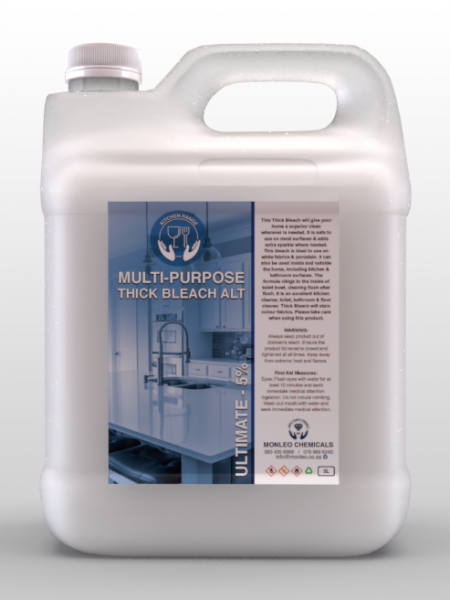 Monleo Chemcials - 5 liter plastic container of white thick bleach soap, cleaner, disinfectant, surface cleaner, convent, easy to carry, hand wash, hand cleaner, quality, local, south African, Johannesburg, Sandton, Pretoria, Boksburg, Hospital, COVID, COVID-19, COVID2020, COVID2021, clinic, clicks, dischem, chemical, Safety, Bacteria, viruses, germs, dirt, disinfectant, handy andy ,Jik, original, name brand,approved,restaurant accessories ,counter cleaner,floor cleaner ,100% effective,oven cleaner