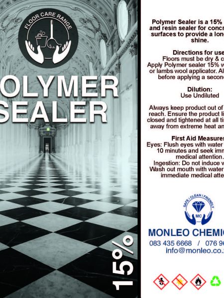 Monleo Chemicals Flooring Range | Polymer Sealer 15%get rid of scratches, cleaning accessories, cleaning supplies, floor products, floor protection, sealer,chemical, quality,quality, local, south African, Johannesburg, Sandton, Pretoria, Boksburg,fresh smell, original, name brand, approved