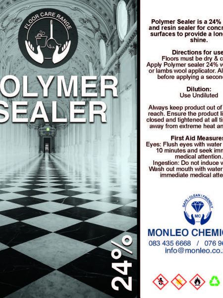 Monleo Chemicals Flooring Range | Polymer 24%, get rid of scratches, cleaning accessories, cleaning supplies, floor products, floor protection, sealer,chemical, quality,quality, local, south African, Johannesburg, Sandton, Pretoria, Boksburg,fresh smell, original, name brand, approved