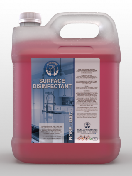 Monleo Chemicals | Surface Disinfectant Rose QAC, 5L container, pink red liquid